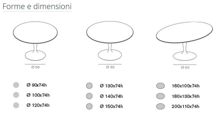 Diagrama mesa de comedor Flute de Sovet Italia