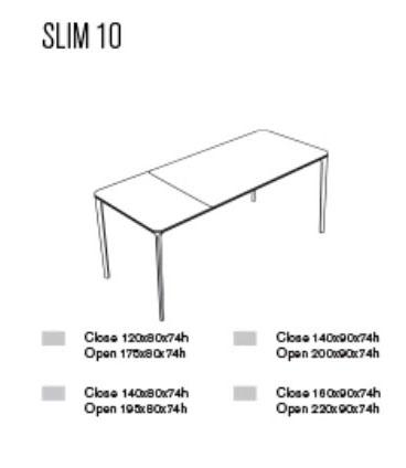 Diagrama mesa extensible Slim de Sovet Italia