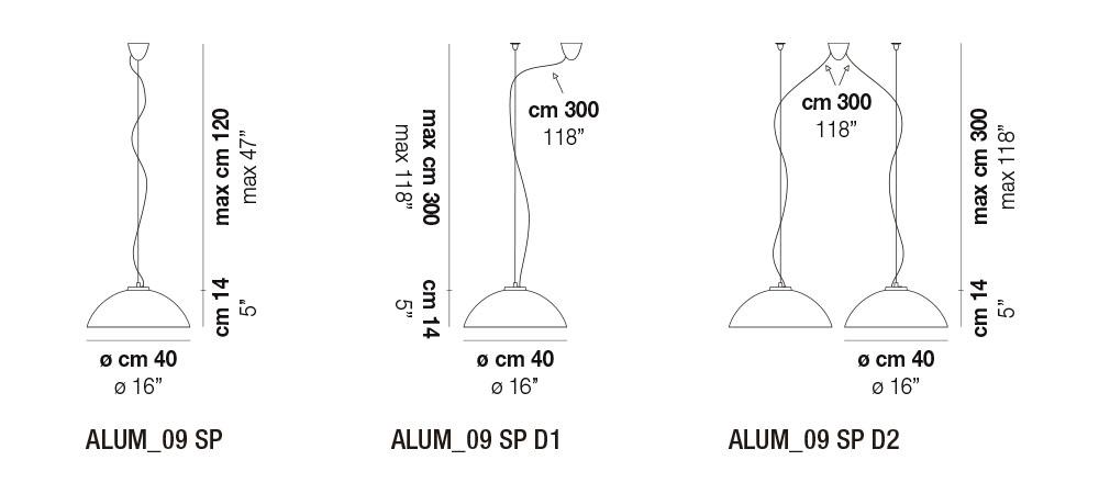 Diagrama de medidas lámpara Alum 09 Vistosi