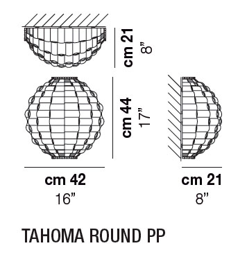 Diagrama aplique de pared Tahoma Round de Vistosi