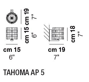 Diagrama aplique de pared Tahoma de Vistosi