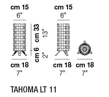 Diagrama lámpara de mesa Tahoma de Vistosi