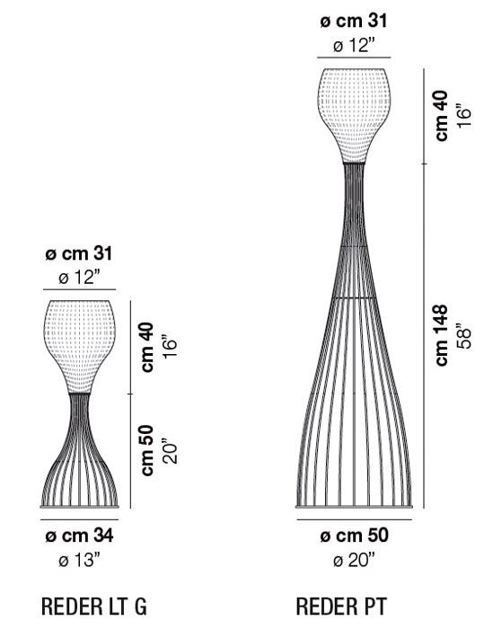 Diagrama lámpara de pie Reder de Vistosi