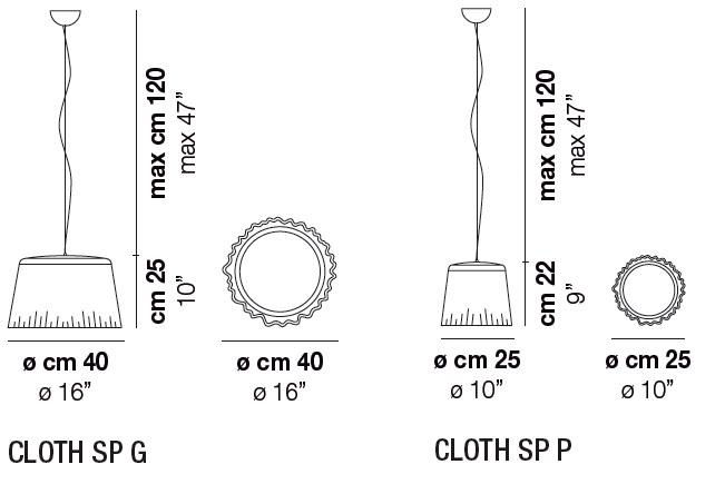 Diagrama lámpara de techo Cloth de Vistosi
