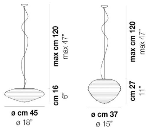 Diagrama lámpara de techo Spirit de Vistosi