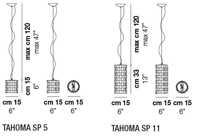 Diagrama lámpara de techo Tahoma de Vistosi