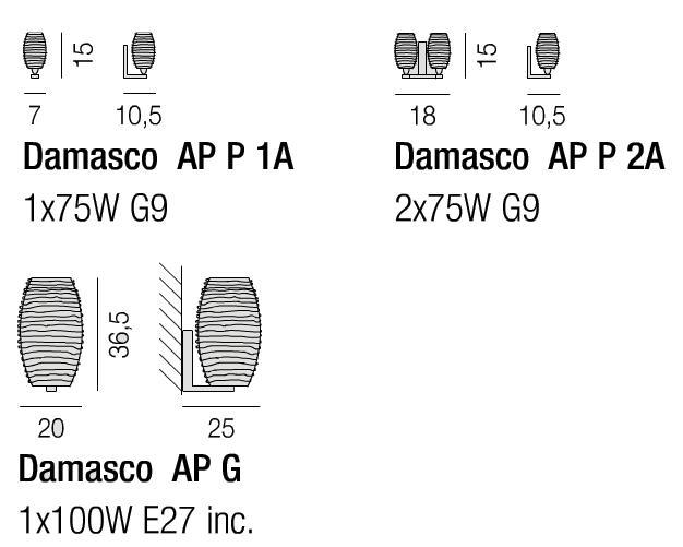 Diagramas Damasco aplique de pared