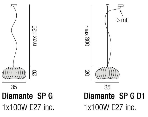 Diagrama Diamante grande colgante