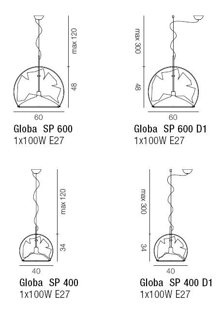 Diagrama de lámpara colgante Globa de Vistosi