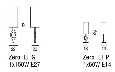Diagrama de lámpara de mesa Zero de Vistosi
