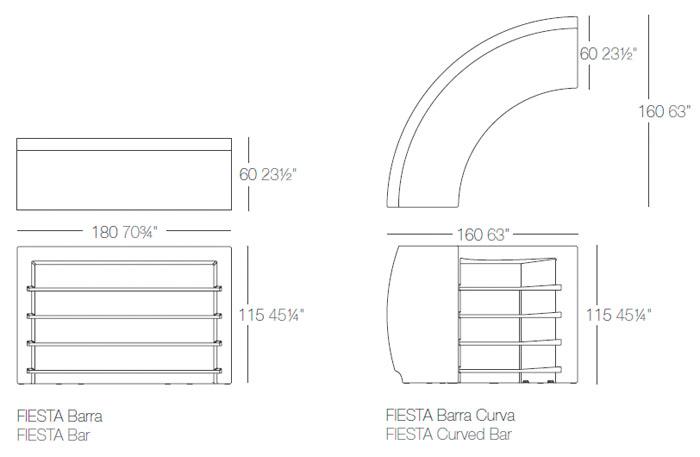 Diagrama Barra de bar Fiesta de Vondom