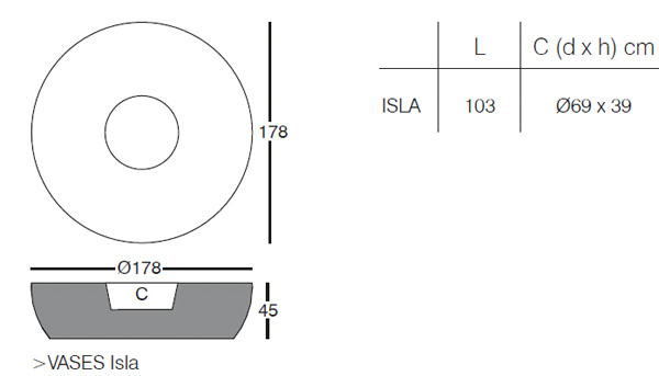 Diagrama de macetero Isla Vases de Vondom