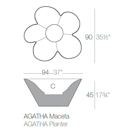Diagrama maceta Agatha de Vondom