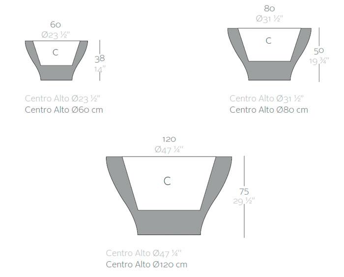 Diagrama maceta Centro alto de Vondom