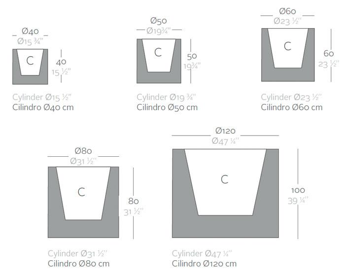 Diagrama maceta Cilindro de Vondom