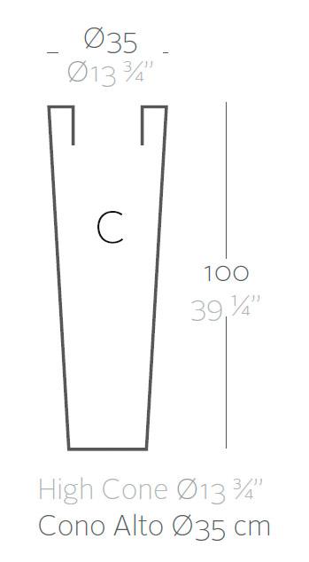 Diagrama maceta Cono alto de Vondom
