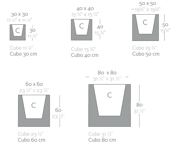 Diagrama maceta Cubo de Vondom