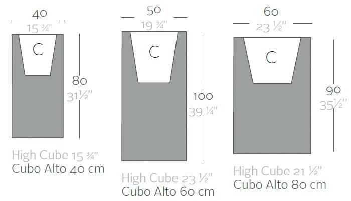 Diagrama maceta Cubo alto de Vondom