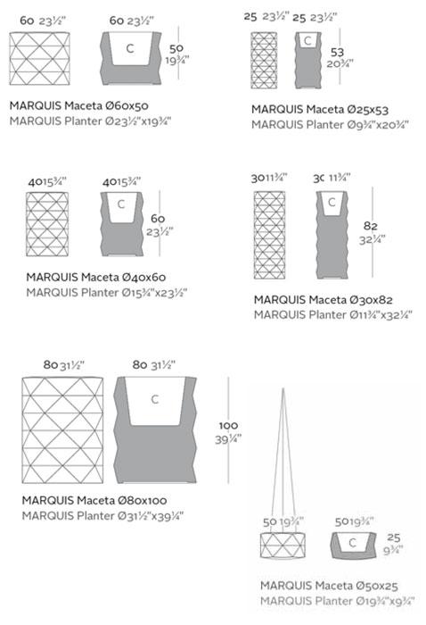 Diagrama maceta Marquis de Vondom