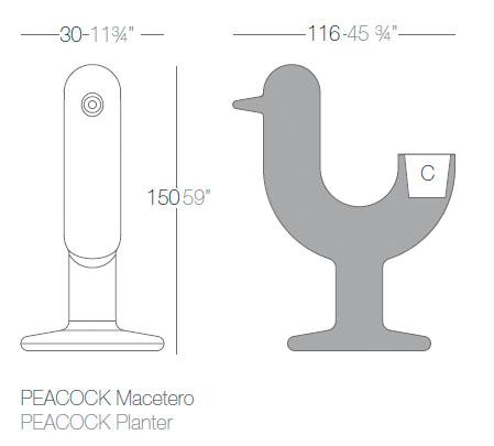 Diagrama maceta Peacock de Vondom
