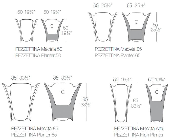 Diagramas maceteros Pezzettina de Vondom