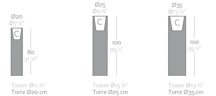 Diagrama maceta luz Torre de Vondom