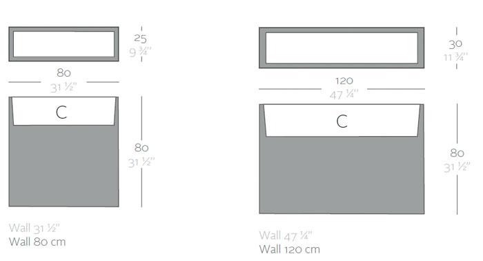 Diagrama maceta Wall de Vondom