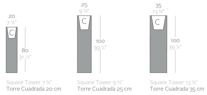 Diagrama maceta con luz Torre Cuadrada de Vondom