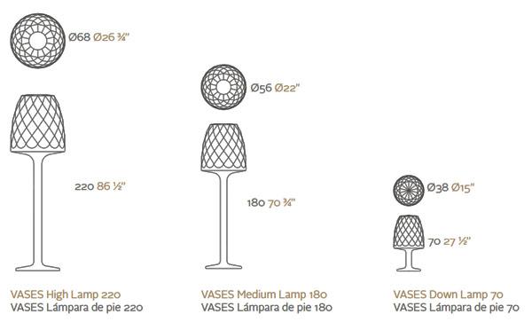 Diagrama Lámpara de pie Vases de Vondom