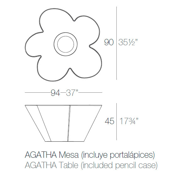 Diagrama mesa Agatha de Vondom