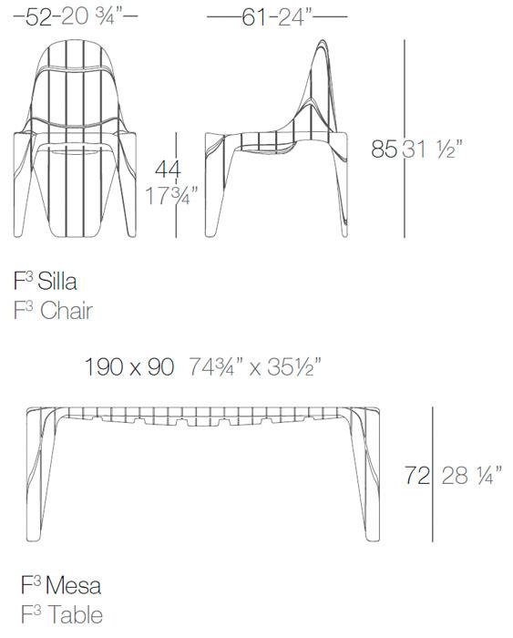 Diagrama comedor exterior F3 de Vondom