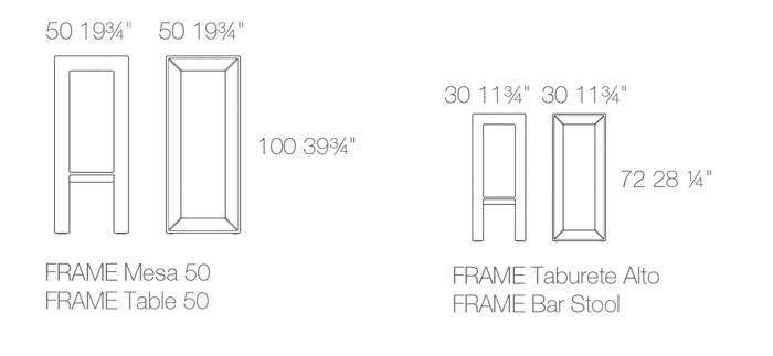 Diagrama mesa y taburete alto Frame de Vondom