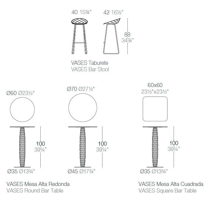 Diagrama mesa alta y taburete Vases de Vondom