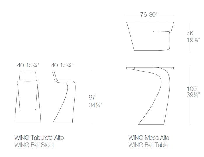 Diagrama mesa alta y taburete Wing de Vondom
