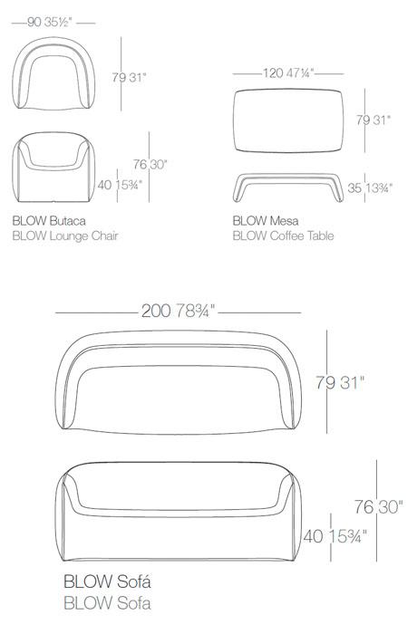 Diagramas colección Blow de Vondom