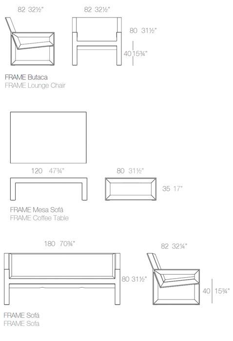 Diagrama salón Frame de Vondom