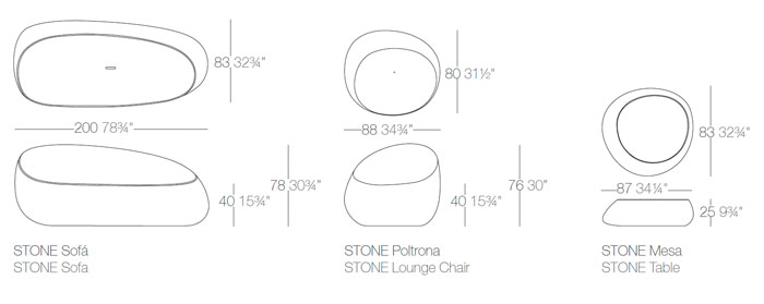 Diagrama salón Stone de Vondom