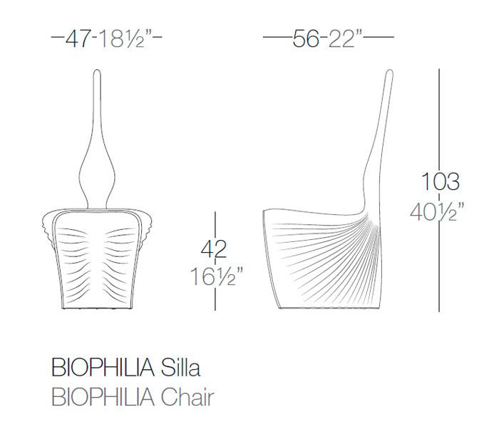 Diagrama silla Biophilia de Vondom