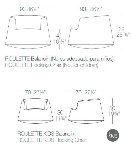 Diagrama sillón balancín Roulette de Vondom