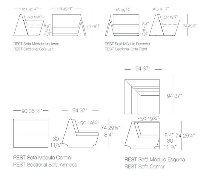 Diagrama sofá Rest de Vondom