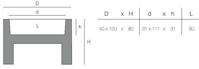 Diagrama de maceta muro en acabados Aire y Aigua de Vondom. También sirve como original consola para recibidor.