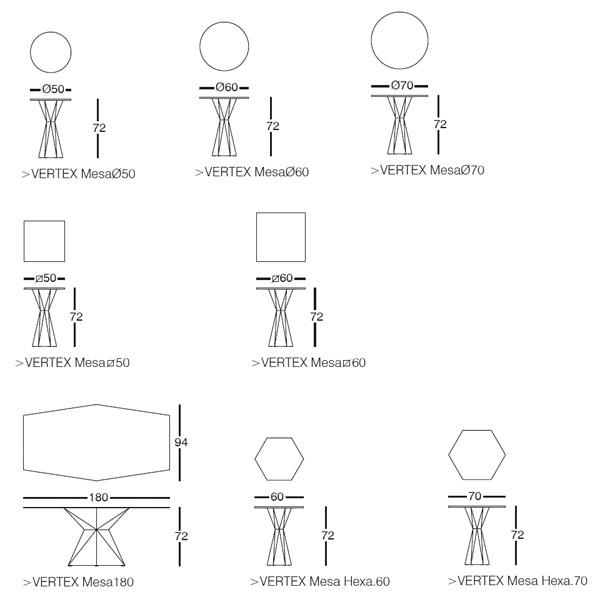 Diagrama de mesa Vertex de Vondom