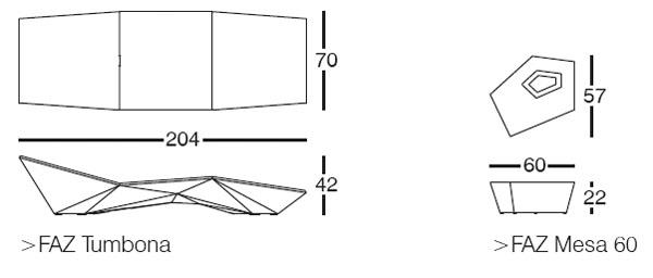 Diagrama de tumbona y mesita Vondom Faz