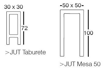 Diagrama de Vondom Jut Alto (taburete y mesa alta)