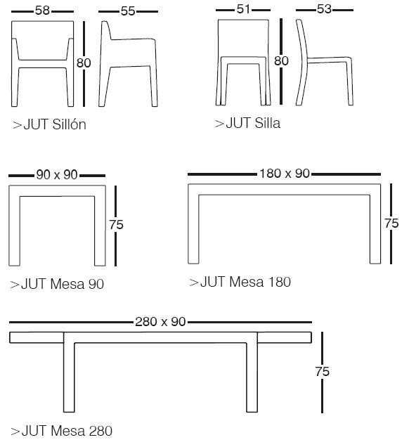 Diagrama de comedor Jut (sillón, silla y mesa) de Vondom