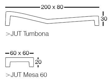 Diagrama de Vondom Jut Relax (tumbona y mesita)