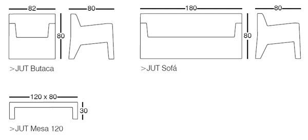 Diagrama de Zona de Estar Jut de Vondom (butaca, sofá y mesita)