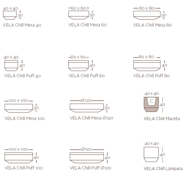Diagrama colección Vela chillout de Vondom