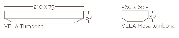 Diagrama de tumbona y mesita VELA de Vondom