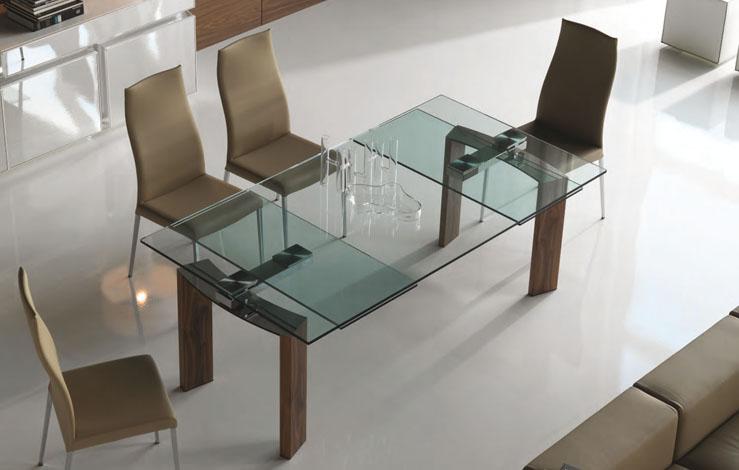 Mesas de comedor cristal madera extensibles for Disenos de mesas de vidrio para comedor
